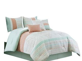 Chezmoi Collection laura 7 Piece Coral Mint Geometric Embroidered Pleated Striped Comforter Set  Queen