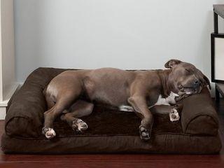 FurHaven Plush   Suede Orthopedic Sofa Cat   Dog Bed  Espresso  large