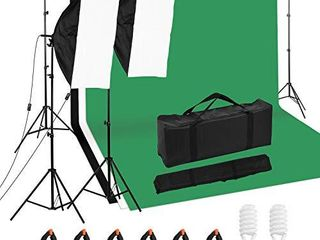 Andoer Photography Studio lighting Kit and 6 6ft x 10ft Background Support System  Including 3pcs Backdrops White Black Green  Screen with 2 pcs 20x28 Inch Softbox for Video  Portrait  Product Shoot
