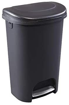 Rubbermaid NEW 2019 VERSION Step On lid Trash Can for Home  Kitchen  and Bathroom Garbage  13 Gallon  Black