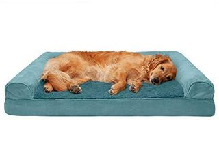 Furhaven Pet Dog Bed   Cooling Gel Memory Foam Ultra Plush Faux Fur and Suede Traditional Sofa Style living Room Couch Pet Bed with Removable Cover for Dogs and Cats  Deep Pool  Jumbo