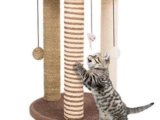 Cat Scratching Posts  Adult Cat and Kitten Tree  3 large Scratching Poles  Carpeted Base Play Area and Perch  Furniture Scratch Deterrent by PETMAKER