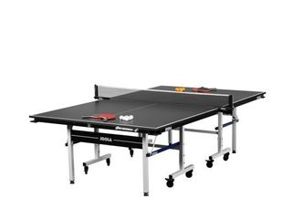 JOOlA Noctis 19mm Recreational Table Tennis Table with Ping Pong Net Set  Black  4ct Essentials Gold Rackets  6ct White Balls  6ct Orange Balls  2ct Magnetic Abacus Scorers  4ct Corner Ball Holders