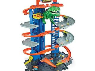 Hot Wheels City Robo T Rex Ultimate Garage Multi level Multi Play Mode Stores 100 Plus 1 64 Scale Cars Gift idea for Kids 5 and Older  GJl14