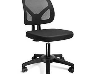 KOllIEE Armless Office Chair Mesh Ergonomic Small Desk Chair Armless Adjustable Swivel Black Computer Task Chair No Armrest Mid Back Home Office Chair for Small Spaces