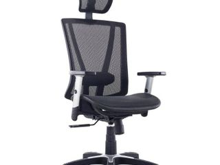 ErgoMax Fully Meshed Ergonomic Height Adjustable Black Office Chair w Armrests   Headrest  52 Inch Max Height