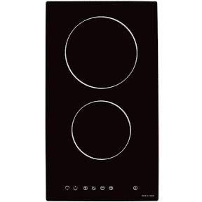 Noxton Two Zone Ceramic Hob   Black Glass Built in Electric Cooktop With Touch C