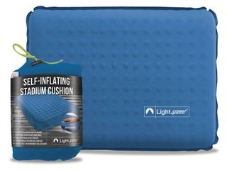 lightspeed Outdoors Self Inflating Insulated Stadium Seat Cushion with an Integrated Carry Bag  Blue