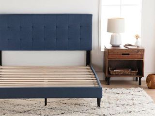 peters tufted upholstered low profile platform bed twin xl navy blue Retail   169 99