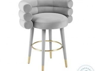 TOV Betty Grey Velvet Counter Stool  Retail   329 99