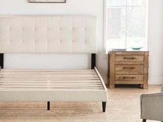 Peters Tufted Upholstered low Profile Headboard and Platform Bed Size Queen  Retail   134 99