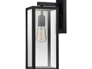 Globe Electric Bowery 1 light Matte Black Outdoor Indoor Wall Sconce with Clear Glass Shade  44176 set of 2