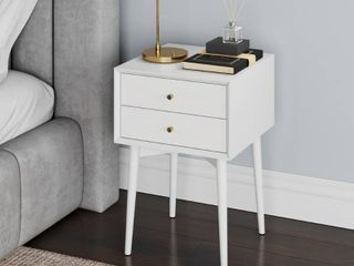 Nathan James Harper 2 Drawer Mid Century Side Table  White  Retail   249 99