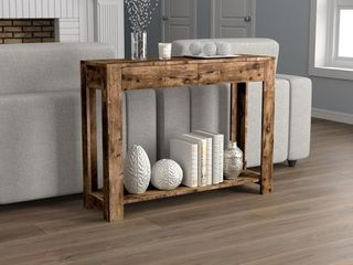 Safdie   Co  Console Table 40l Brown Reclaimed Wood 2 Drawers 1 Shelf Brown Reclaimed Wood