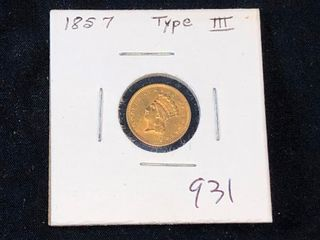 1857 Type III  1 Gold Princess  x1
