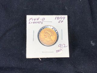 1899 EF  5 Gold liberty  x1