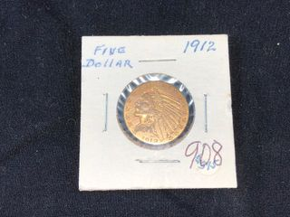 1912  5 Indian Gold Coin  x1
