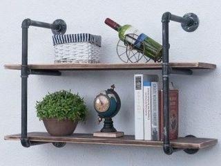 INDUSTRIAl PIPE SHElVES WITH WOOD 2 TIERS