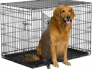 NEW WORlD 42 INCH DOUBlE DOOR FOlDING DOG CRATE