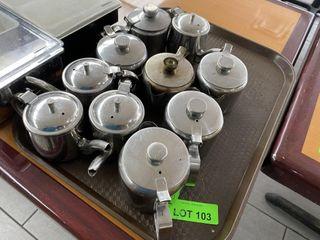 TRAY lOT  S S Tea Pots