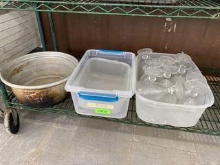 MISC lOT  Glassware  Totes  Rice Cooker Inset