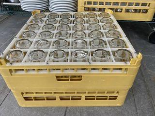 lOT   6  Dozen Juice Glasses    2  Dish Racks
