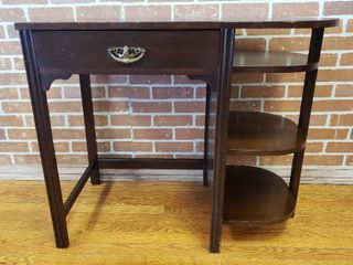 Vintage Wood Desk w Exposed Shelves   36 x 18 x 30 in  tall