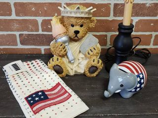 Patiotic Decor  Star lamp  works  Resin Bear Statue of liberty  Elephant Bank and Towel