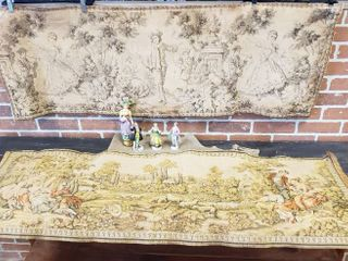2 Vintage Tapestries   54 x 18 in  Gold Table Runner and 4 Figurines made in Japan