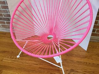 Innit Patio Chair   Pink Weave and White Metal Frame   32 in  diameter x 32 in  tall