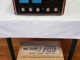 McIntosh MC 2105 Solid State Power Amplifier in Walnut Wood Panloc System Cabinet w Original Shipping Box and Manuals