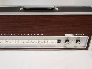 Vintage 1960s Seabury Select a Rythum Drum Machine   Type SAR 1   23 X 5 X 9 5 in  tall   Includes Foot Pedal   Powers On