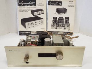 Vintage Dynaco Dyna FM Tuner  no cabinet    13 5 x 7 5 x 4 in  tall and Manuals for other Dynaco electronics   did not power on