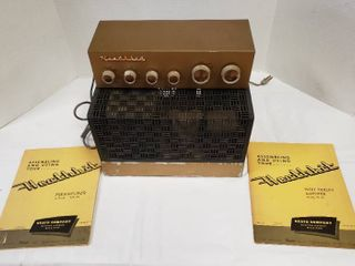 Vintage Heathkit Preamplifier Model WA P2  12 5 x 5 x 3 5 in  tall  and High Fidelity Amplifier Model W 5M  13 x 8 5 x 8 in  tall    did not seem to power on   might fuse or further maintenance   manuals included