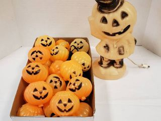 Jack o lantern Man Blow Mold   14 in  tall   works and String of Jack o lantern light w Stakes
