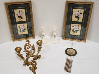Floral Decor Items  Pair of Prints  Pair of Candlesticks  Wind Chime and Gold Wall Candle Sconce