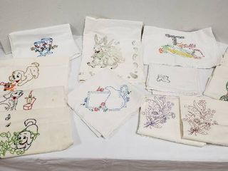 Embroidered or Hand Painted Kitchen Towels   Various Sizes   some have stains