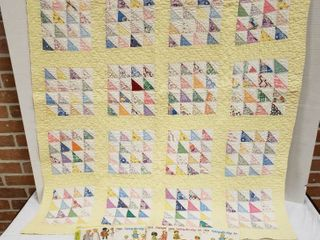 Vintage Baby Quilt  40 x 48 in  and 5 Doll Clothing Patterns
