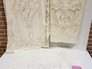 3 large Rectangular lace Table Cloths  one in Box