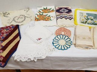 Various linens  Table Runners  Table Cloth  Pair Pillowcases  Kitchen Towels  Bathroom Hand Towels and Pot Holders