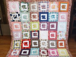 Coffee Cup Motiff Quilt   90 in  x 70 in