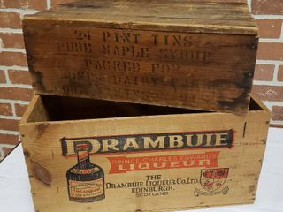 2 Wood Crates  Pure Maple Syrup  17 5 x 12 x 6 5 in  and Drambuie  18 5 x 14 x 9 5 in