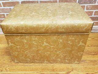Gold Vinyl Covered Flip Top Chest   24 x 15 x 16 5 in  tall