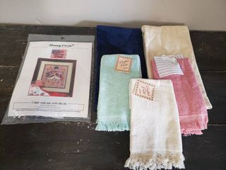 Hand Towels and Snowman Pattern Kit for Cross Stitch