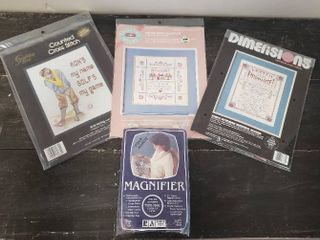 3  Cross Stitch Patterns and Magnifier