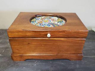 Wood Storage Box w  Asst Sewing Threads