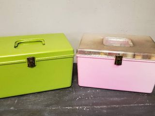 2 Vintage Sewing Boxes w  Contents