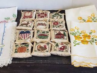 Embroidered linen Items  Table Runners  12 Months Mini Hanging Pillows  Pair of Standard Pillow Shams and 3 Dollies