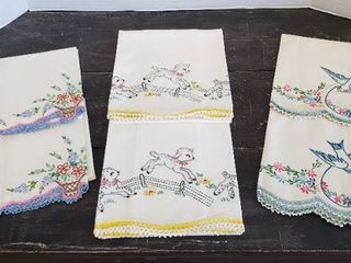 3 Pair of Embroidered Crocheted Pillowcases   Excellent Shape   Never used