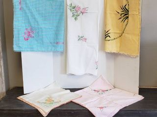 5 Embroidered Square Table Clothes   Various Sizes